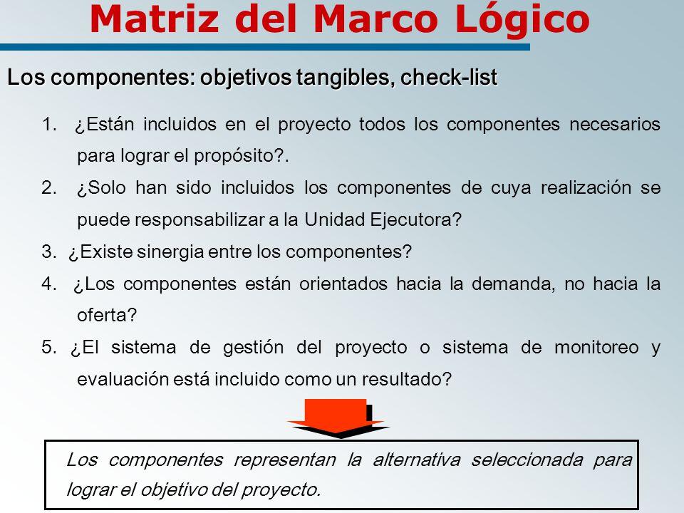 Matriz del Marco Lógico Los componentes: objetivos tangibles, check-list 1.