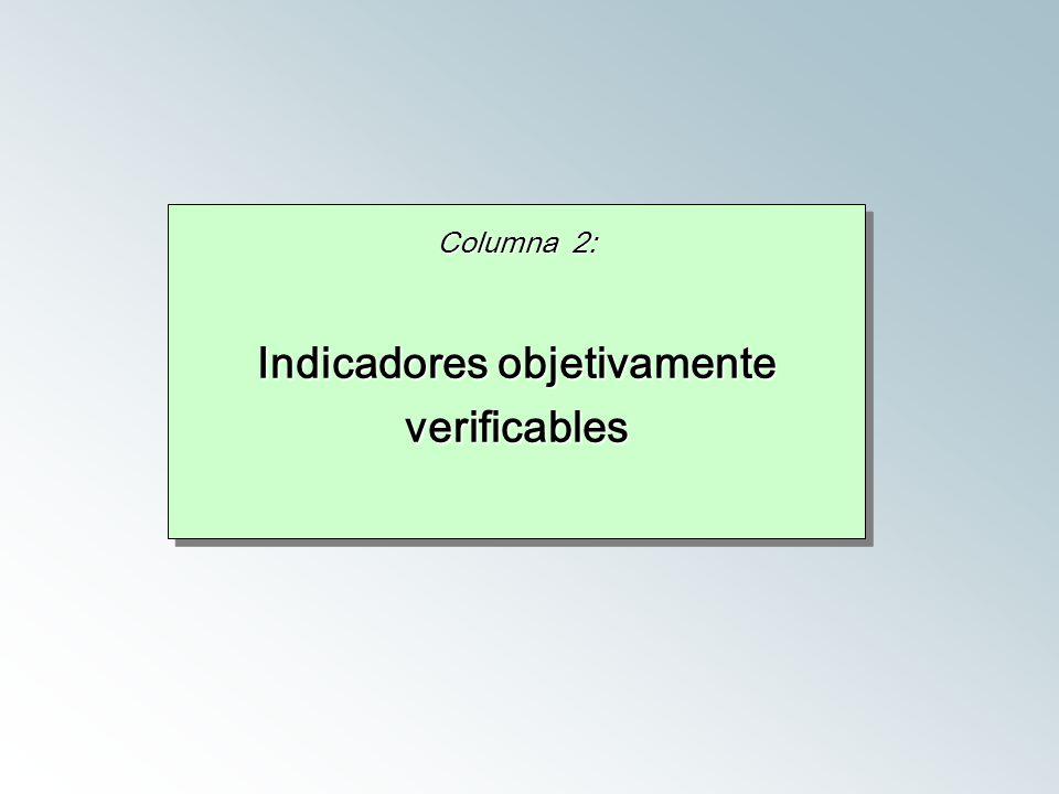 Columna 2: Indicadores objetivamente verificables Columna 2: Indicadores objetivamente verificables