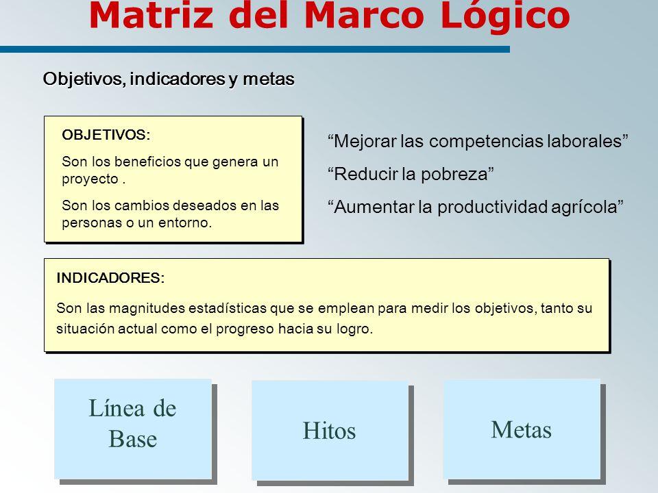 Metas Matriz del Marco Lógico Objetivos, indicadores y metas Objetivos, indicadores y metas OBJETIVOS: Son los beneficios que genera un proyecto.