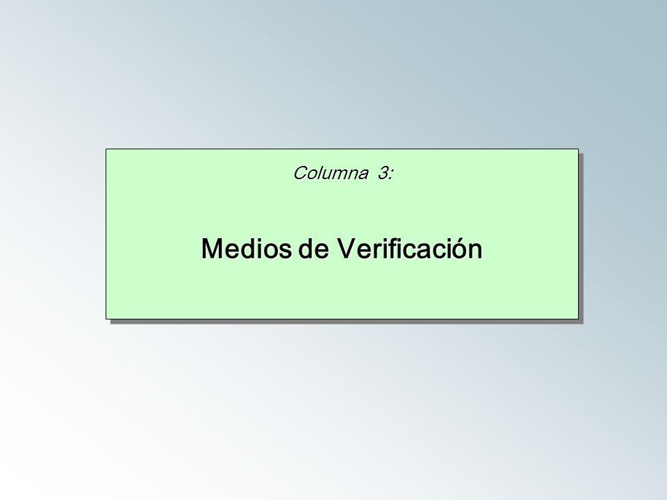 Columna 3: Medios de Verificación Columna 3: Medios de Verificación