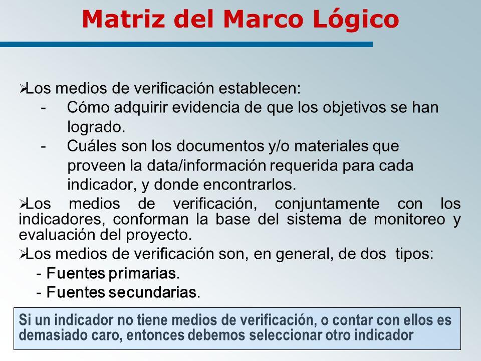 Matriz del Marco Lógico Los medios de verificación establecen: -Cómo adquirir evidencia de que los objetivos se han logrado.