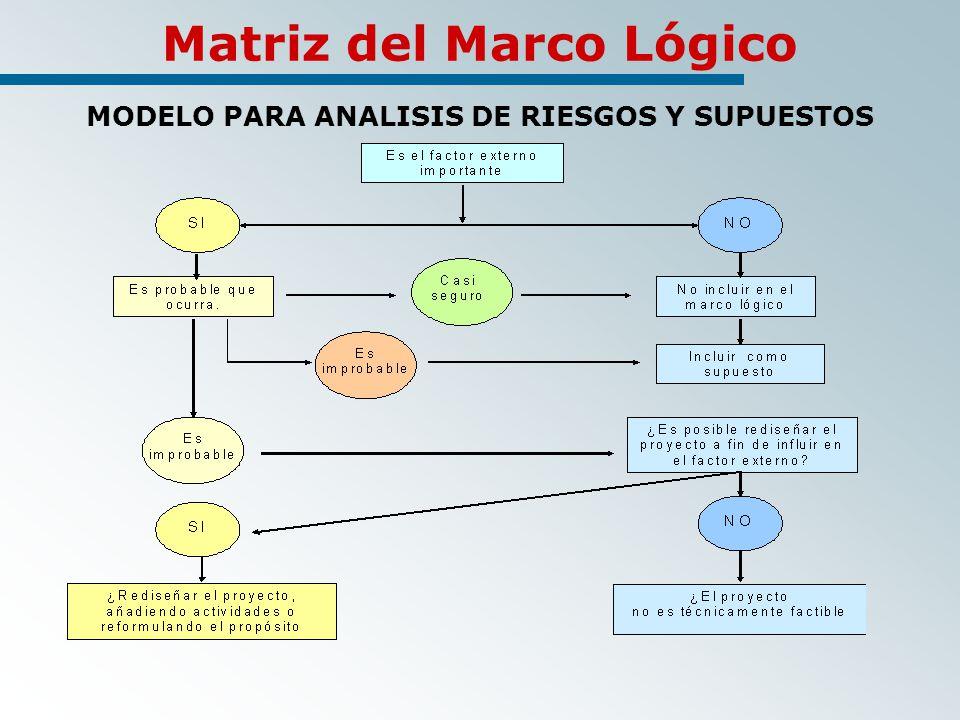 Matriz del Marco Lógico MODELO PARA ANALISIS DE RIESGOS Y SUPUESTOS