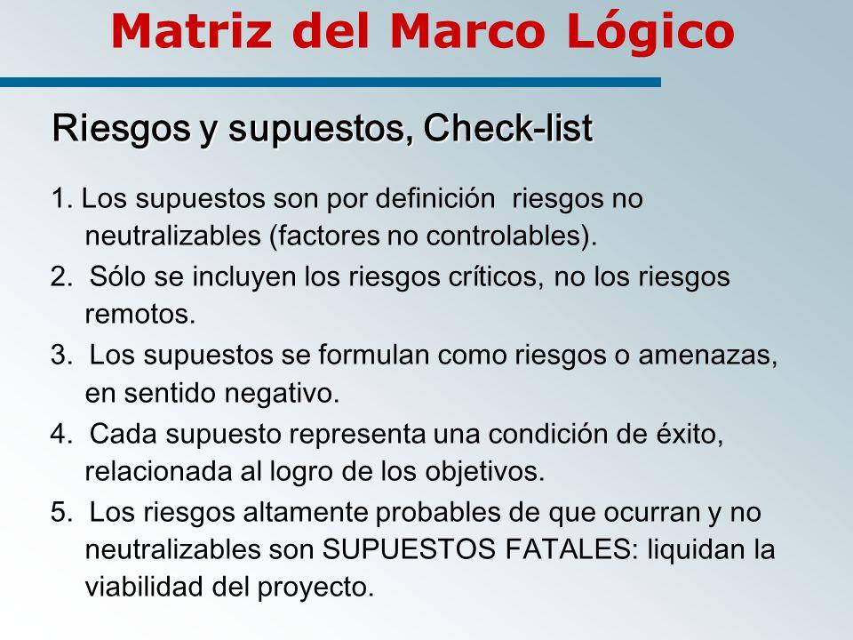 Matriz del Marco Lógico Riesgos y supuestos, Check-list 1.