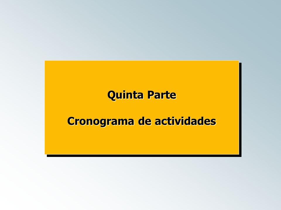 Quinta Parte Cronograma de actividades Quinta Parte Cronograma de actividades