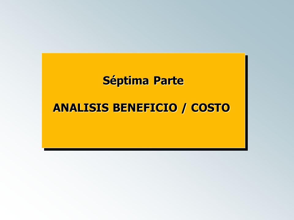 Séptima Parte ANALISIS BENEFICIO / COSTO Séptima Parte ANALISIS BENEFICIO / COSTO