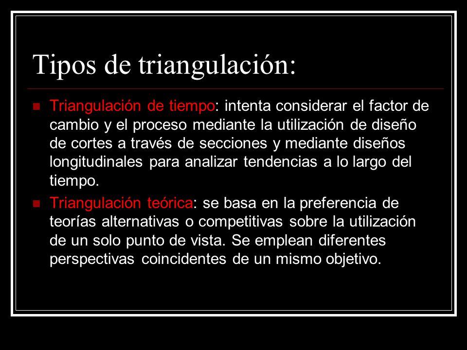 Tipos de triangulación: Triangulación de tiempo: intenta considerar el factor de cambio y el proceso mediante la utilización de diseño de cortes a tra