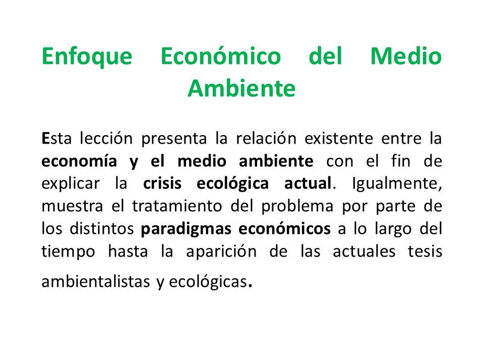 Enfoque Económico del Medio Ambiente Esta lección presenta la relación existente entre la economía y el medio ambiente con el fin de explicar la crisis ecológica actual.