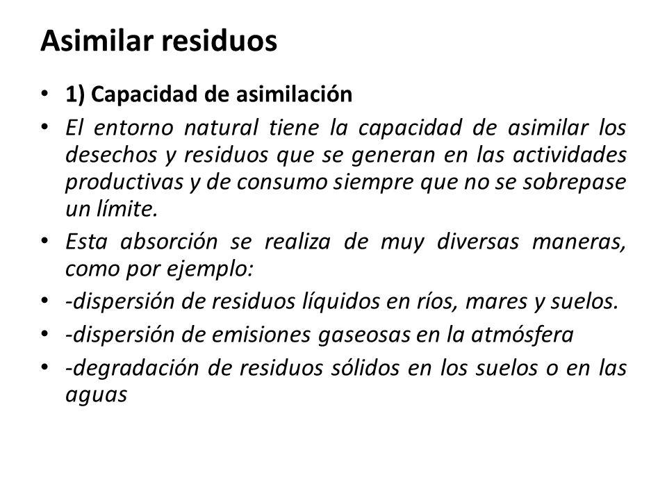 Asimilar residuos 1) Capacidad de asimilación El entorno natural tiene la capacidad de asimilar los desechos y residuos que se generan en las actividades productivas y de consumo siempre que no se sobrepase un límite.