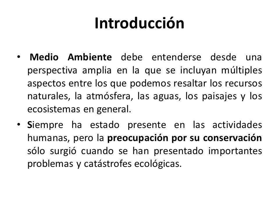 Introducción Medio Ambiente debe entenderse desde una perspectiva amplia en la que se incluyan múltiples aspectos entre los que podemos resaltar los recursos naturales, la atmósfera, las aguas, los paisajes y los ecosistemas en general.