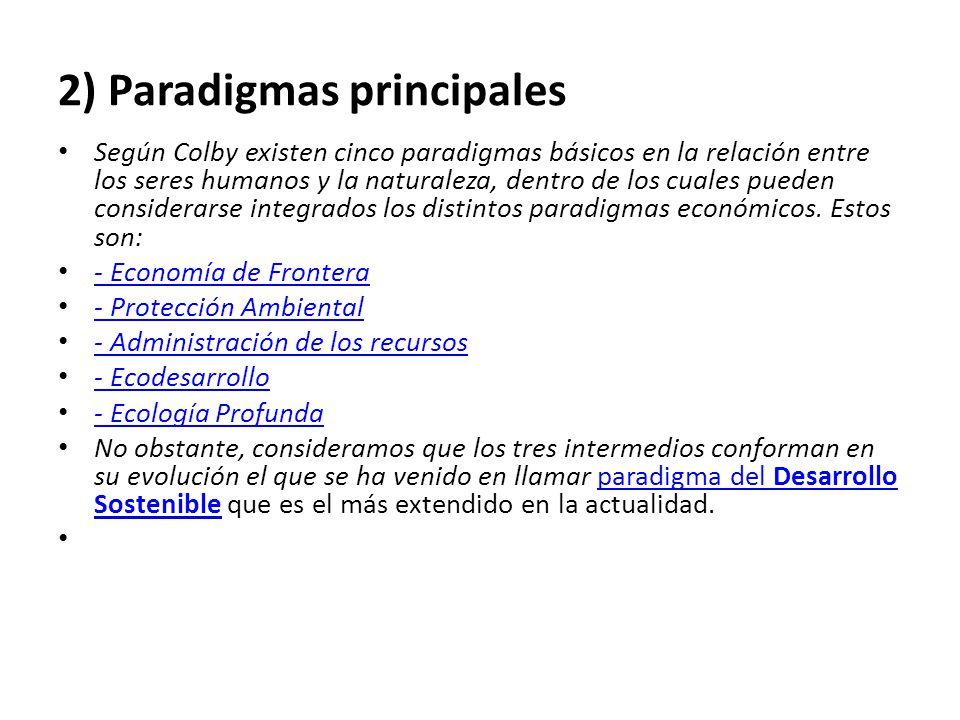 2) Paradigmas principales Según Colby existen cinco paradigmas básicos en la relación entre los seres humanos y la naturaleza, dentro de los cuales pueden considerarse integrados los distintos paradigmas económicos.