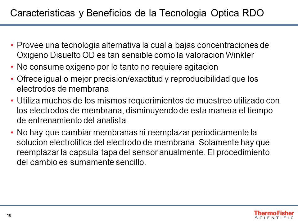 10 Caracteristicas y Beneficios de la Tecnologia Optica RDO Provee una tecnologia alternativa la cual a bajas concentraciones de Oxigeno Disuelto OD e