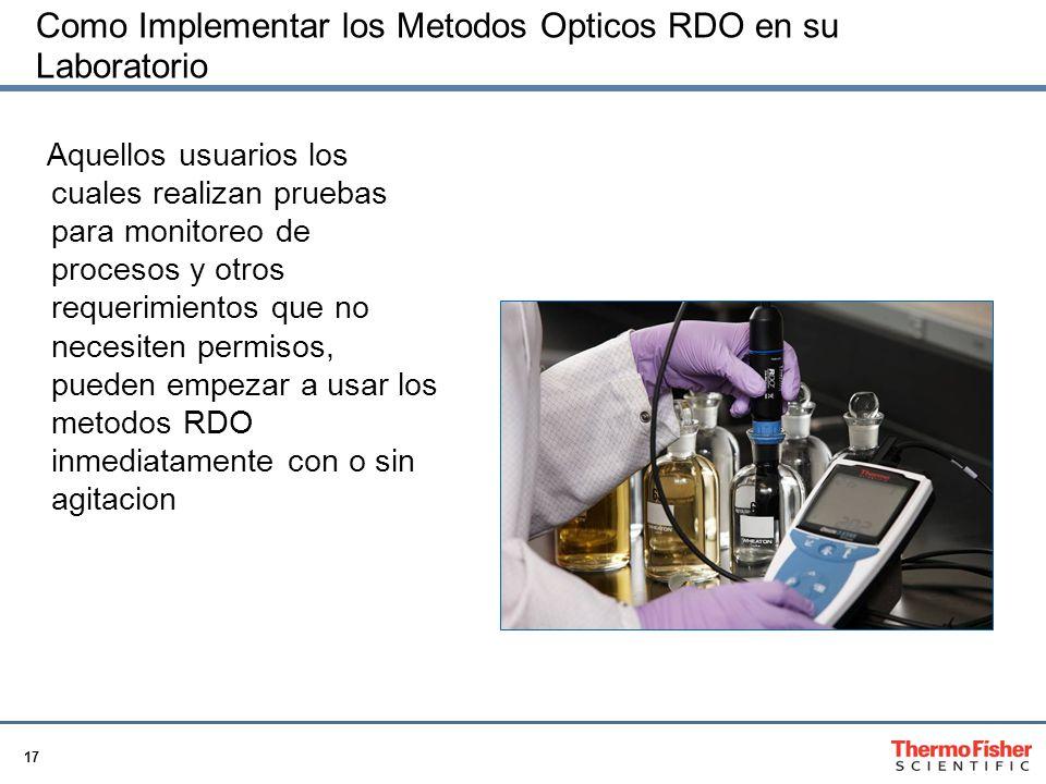 17 Como Implementar los Metodos Opticos RDO en su Laboratorio Aquellos usuarios los cuales realizan pruebas para monitoreo de procesos y otros requerimientos que no necesiten permisos, pueden empezar a usar los metodos RDO inmediatamente con o sin agitacion