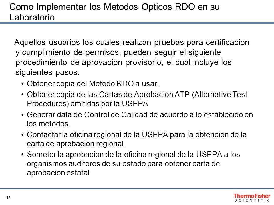 18 Como Implementar los Metodos Opticos RDO en su Laboratorio Aquellos usuarios los cuales realizan pruebas para certificacion y cumplimiento de permi