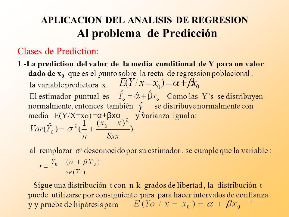 1 APLICACION DEL ANALISIS DE REGRESION Al problema de Predicción Clases de Prediction: 1.-La prediction del valor de la media conditional de Y para un
