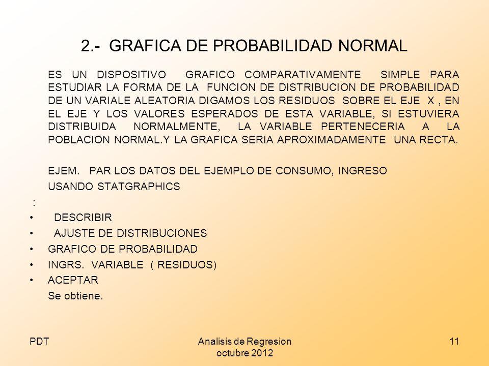 2.- GRAFICA DE PROBABILIDAD NORMAL ES UN DISPOSITIVO GRAFICO COMPARATIVAMENTE SIMPLE PARA ESTUDIAR LA FORMA DE LA FUNCION DE DISTRIBUCION DE PROBABILI