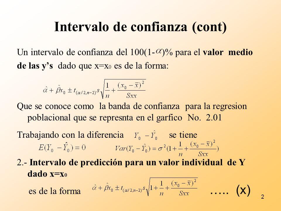2 Intervalo de confianza (cont) Un intervalo de confianza del 100(1- )% para el valor medio de las ys dado que x=x 0 es de la forma: Que se conoce com