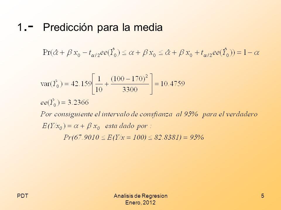 2.-PREDDICCION INDIVIDUAL Si nuestro interés es predecir un valor individual de Y, Yo, correspondiente a un valor dado por (x) PDTAnalisis de Regresion Octubre 2012 6