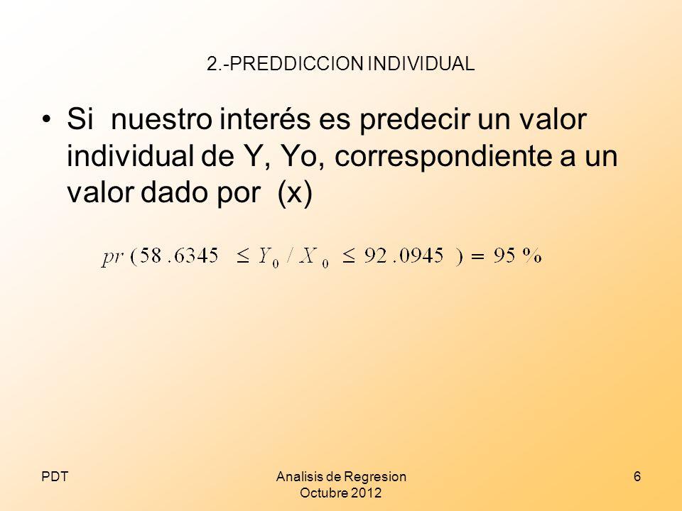 2.-PREDDICCION INDIVIDUAL Si nuestro interés es predecir un valor individual de Y, Yo, correspondiente a un valor dado por (x) PDTAnalisis de Regresio