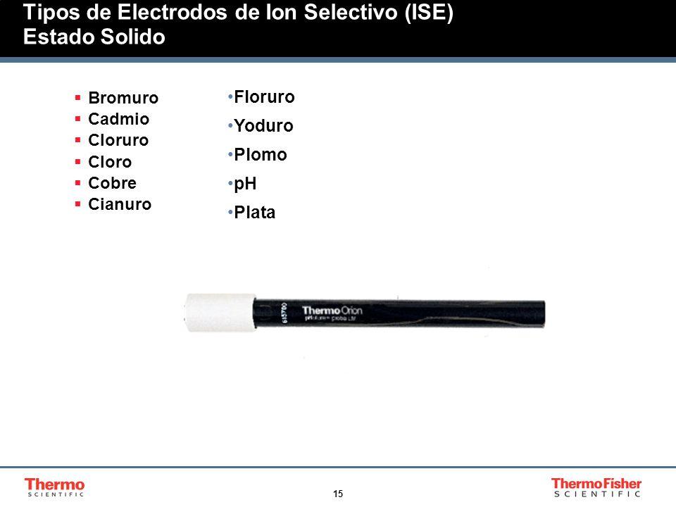 15 Tipos de Electrodos de Ion Selectivo (ISE) Estado Solido Bromuro Cadmio Cloruro Cloro Cobre Cianuro Floruro Yoduro Plomo pH Plata