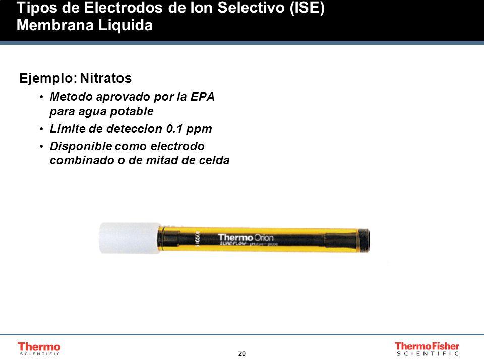 20 Tipos de Electrodos de Ion Selectivo (ISE) Membrana Liquida Ejemplo: Nitratos Metodo aprovado por la EPA para agua potable Limite de deteccion 0.1 ppm Disponible como electrodo combinado o de mitad de celda