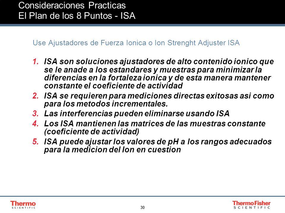 30 Consideraciones Practicas El Plan de los 8 Puntos - ISA Use Ajustadores de Fuerza Ionica o Ion Strenght Adjuster ISA 1.ISA son soluciones ajustadores de alto contenido ionico que se le anade a los estandares y muestras para minimizar la diferencias en la fortaleza ionica y de esta manera mantener constante el coeficiente de actividad 2.ISA se requieren para mediciones directas exitosas asi como para los metodos incrementales.
