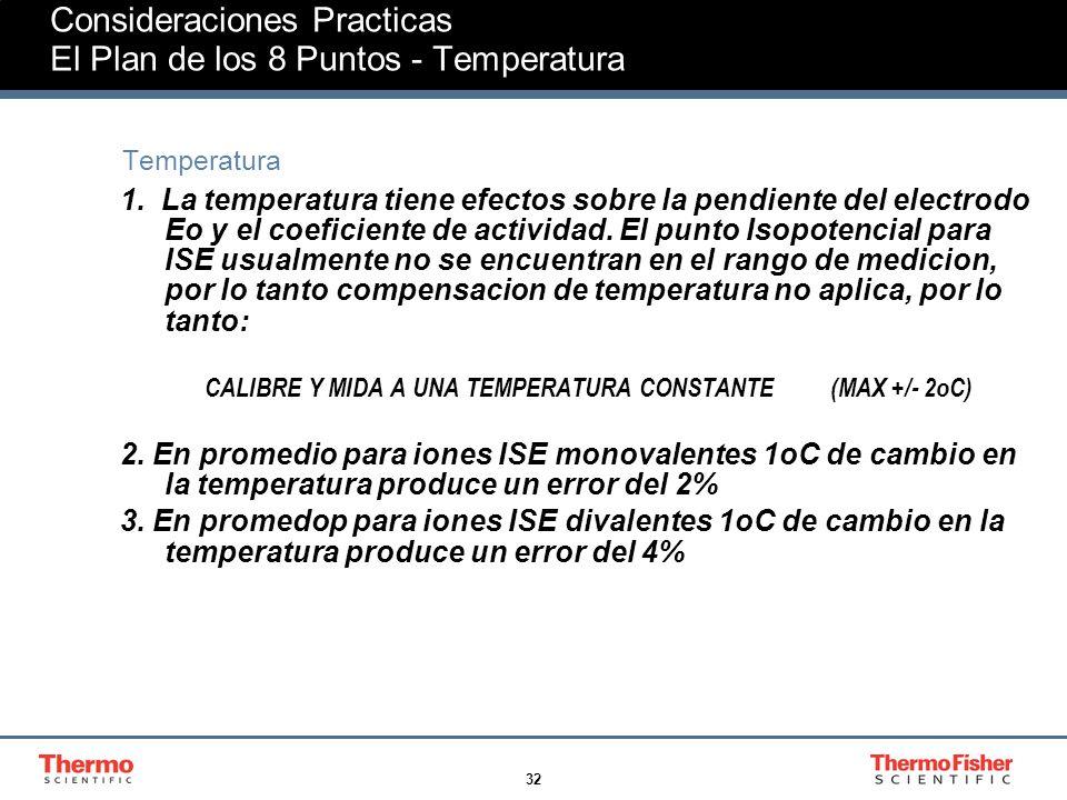 32 Consideraciones Practicas El Plan de los 8 Puntos - Temperatura Temperatura 1.