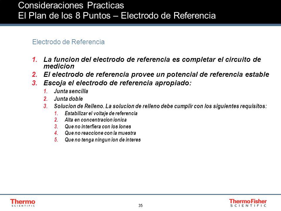 35 Consideraciones Practicas El Plan de los 8 Puntos – Electrodo de Referencia Electrodo de Referencia 1.La funcion del electrodo de referencia es completar el circuito de medicion 2.El electrodo de referencia provee un potencial de referencia estable 3.Escoja el electrodo de referencia apropiado: 1.Junta sencilla 2.Junta doble 3.Solucion de Relleno.