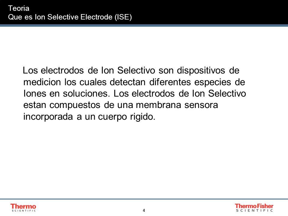 4 Teoria Que es Ion Selective Electrode (ISE) Los electrodos de Ion Selectivo son dispositivos de medicion los cuales detectan diferentes especies de Iones en soluciones.