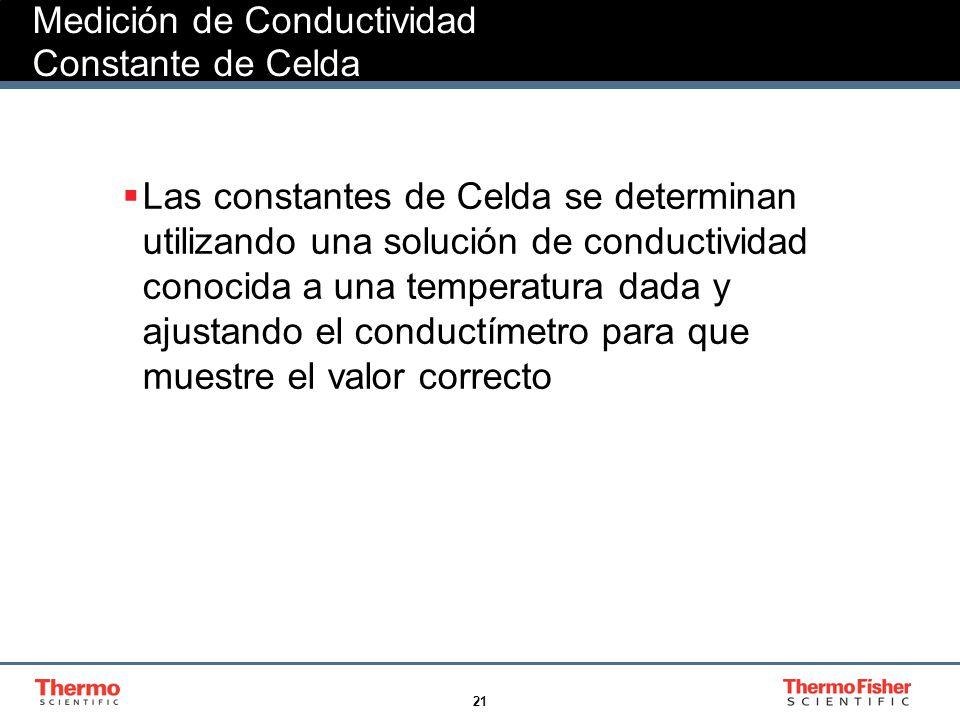 21 Medición de Conductividad Constante de Celda Las constantes de Celda se determinan utilizando una solución de conductividad conocida a una temperat