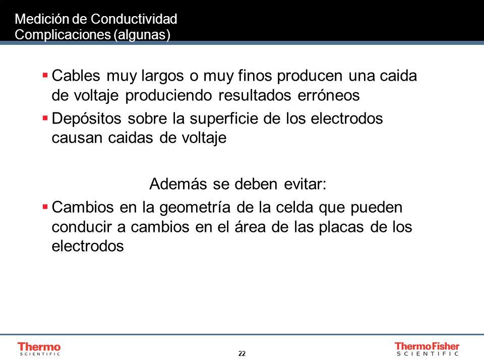 22 Medición de Conductividad Complicaciones (algunas) Cables muy largos o muy finos producen una caida de voltaje produciendo resultados erróneos Depó