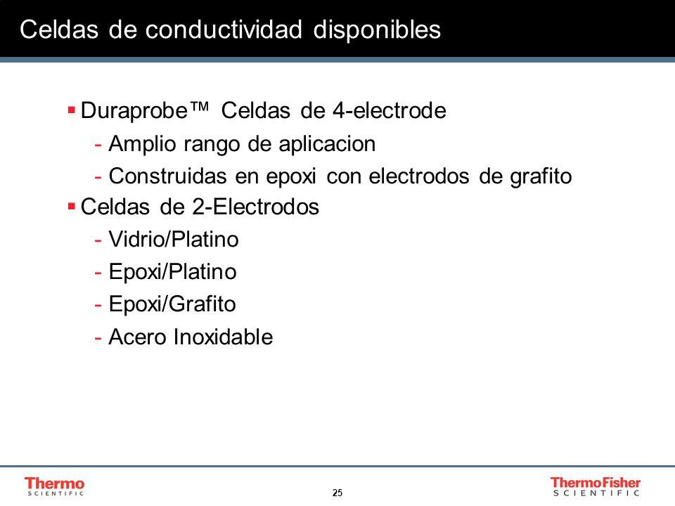 25 Celdas de conductividad disponibles Duraprobe Celdas de 4-electrode -Amplio rango de aplicacion -Construidas en epoxi con electrodos de grafito Cel
