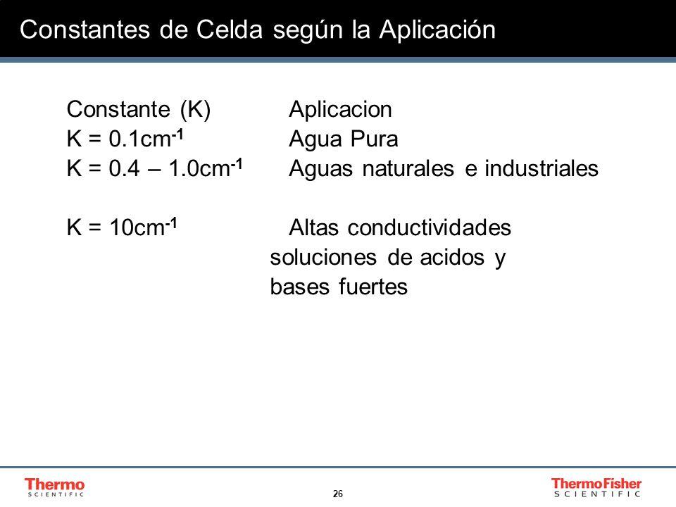 26 Constantes de Celda según la Aplicación Constante (K) Aplicacion K = 0.1cm -1 Agua Pura K = 0.4 – 1.0cm -1 Aguas naturales e industriales K = 10cm