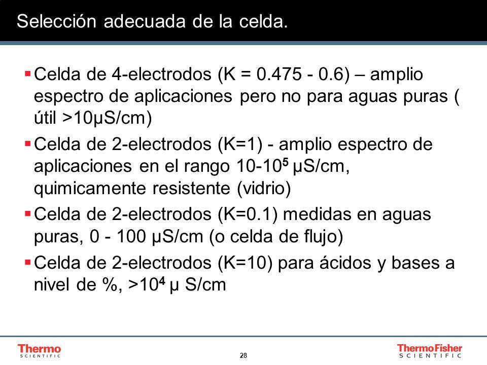 28 Selección adecuada de la celda. Celda de 4-electrodos (K = 0.475 - 0.6) – amplio espectro de aplicaciones pero no para aguas puras ( útil >10µS/cm)