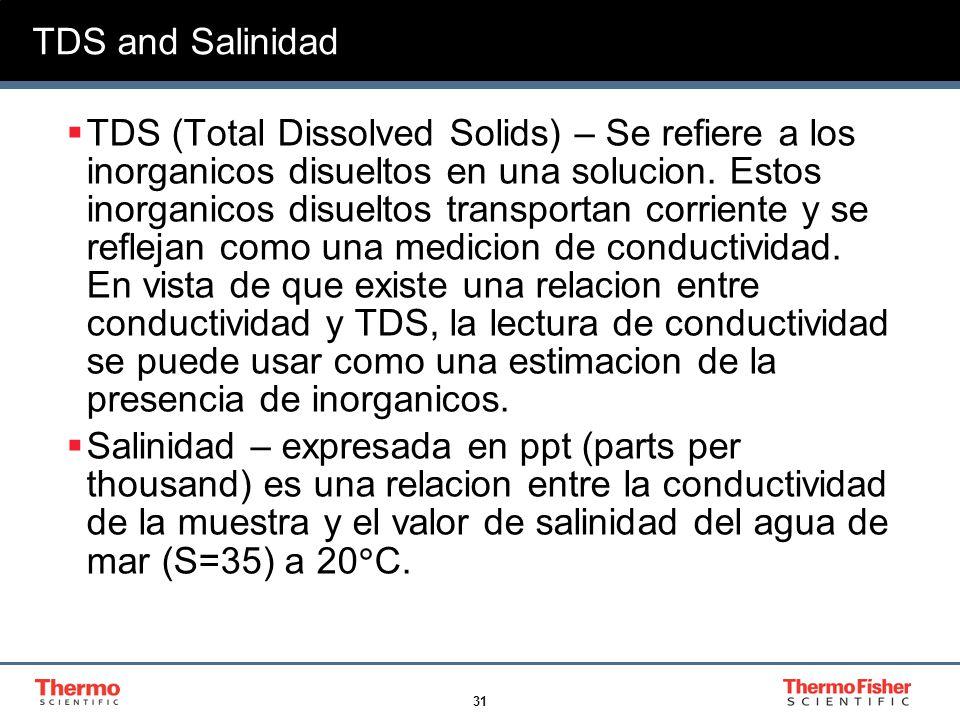 31 TDS and Salinidad TDS (Total Dissolved Solids) – Se refiere a los inorganicos disueltos en una solucion. Estos inorganicos disueltos transportan co