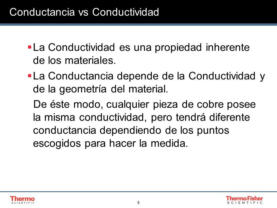 5 Conductancia vs Conductividad La Conductividad es una propiedad inherente de los materiales. La Conductancia depende de la Conductividad y de la geo