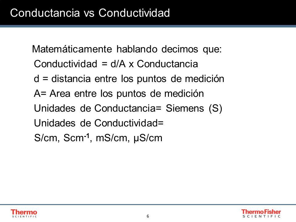 6 Conductancia vs Conductividad Matemáticamente hablando decimos que: Conductividad = d/A x Conductancia d = distancia entre los puntos de medición A=
