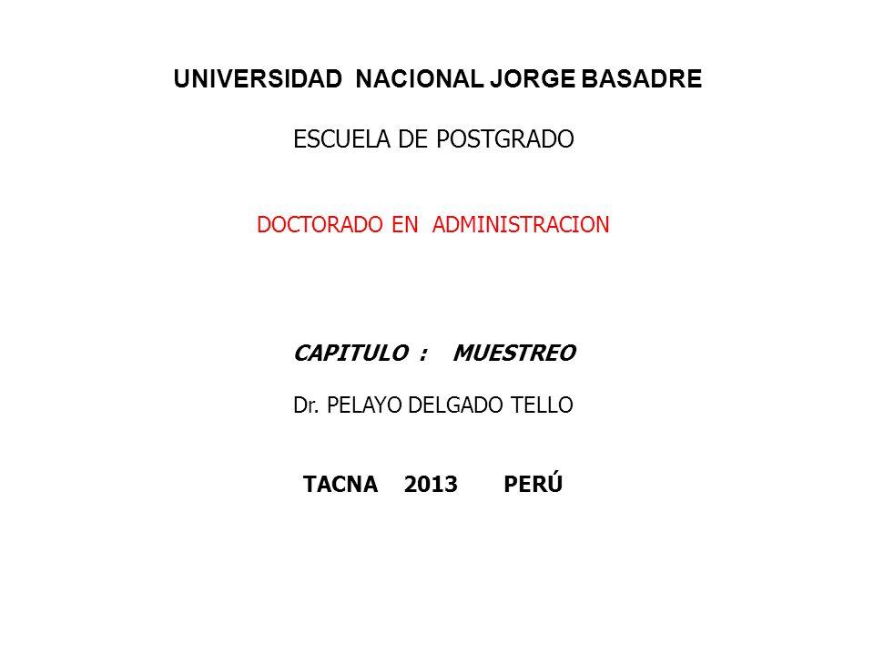 UNIVERSIDAD NACIONAL JORGE BASADRE ESCUELA DE POSTGRADO DOCTORADO EN ADMINISTRACION CAPITULO : MUESTREO Dr. PELAYO DELGADO TELLO TACNA 2013 PERÚ