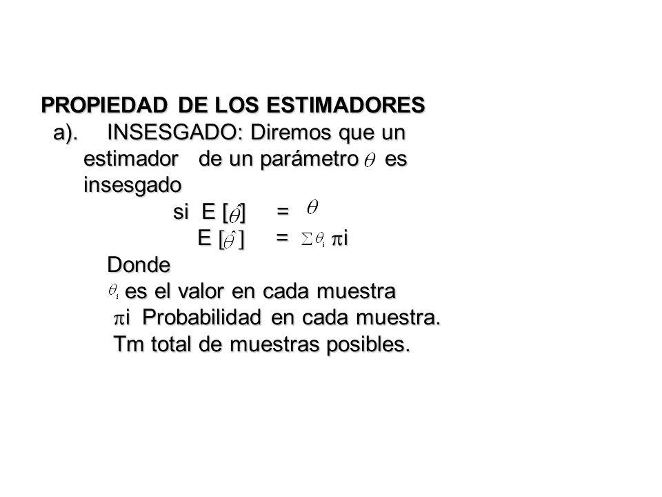 PROPIEDAD DE LOS ESTIMADORES a).INSESGADO: Diremos que un estimador de un parámetro es insesgado si E [ ] = E = i Donde es el valor en cada muestra i