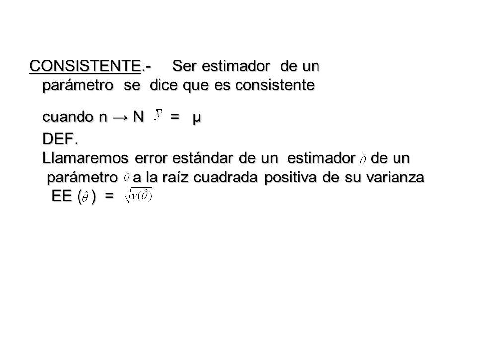 CONSISTENTE.-Ser estimador de un parámetro se dice que es consistente cuando n N = μ DEF. Llamaremos error estándar de un estimador de un parámetro a