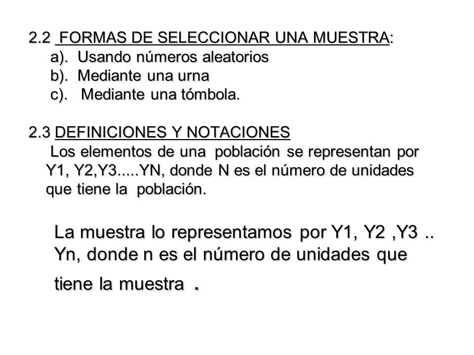 2.2 FORMAS DE SELECCIONAR UNA MUESTRA: a). Usando números aleatorios b). Mediante una urna c). Mediante una tómbola. 2.3 DEFINICIONES Y NOTACIONES Los