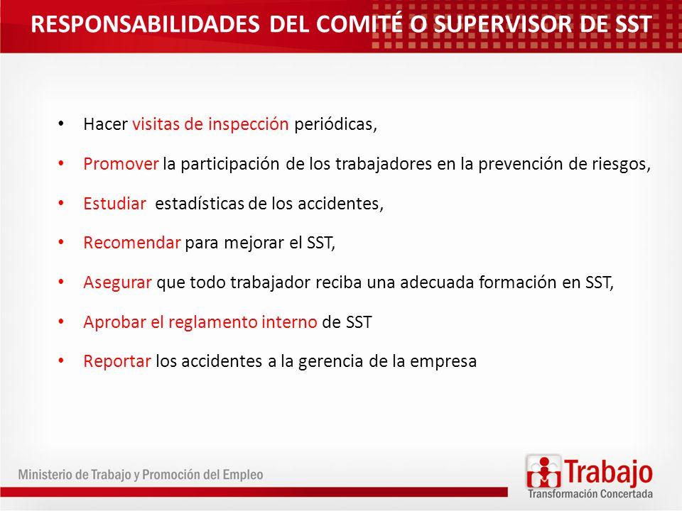 RESPONSABILIDADES DEL COMITÉ O SUPERVISOR DE SST Hacer visitas de inspección periódicas, Promover la participación de los trabajadores en la prevenció