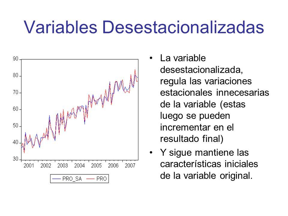 Variables Desestacionalizadas La variable desestacionalizada, regula las variaciones estacionales innecesarias de la variable (estas luego se pueden i