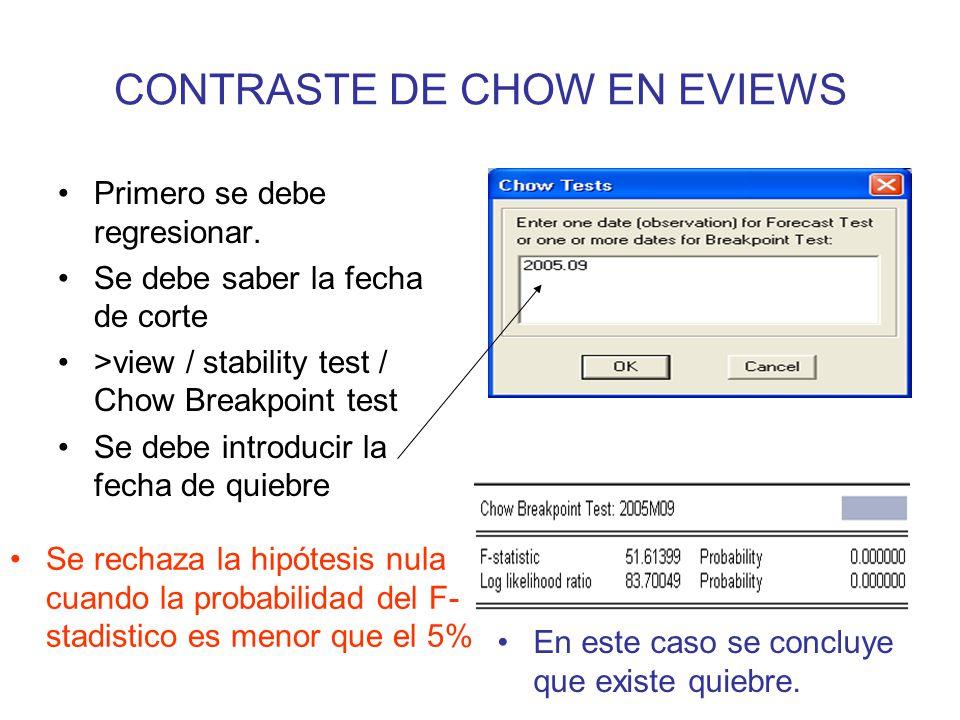 CONTRASTE DE CHOW EN EVIEWS Primero se debe regresionar. Se debe saber la fecha de corte >view / stability test / Chow Breakpoint test Se debe introdu