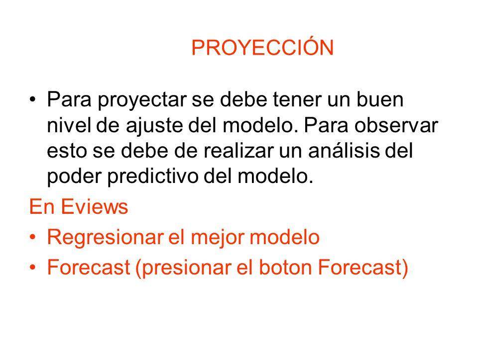 PROYECCIÓN Para proyectar se debe tener un buen nivel de ajuste del modelo. Para observar esto se debe de realizar un análisis del poder predictivo de