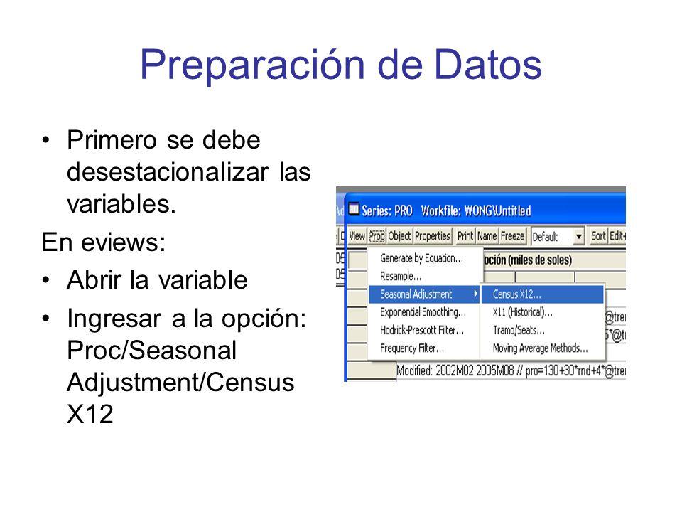 Preparación de Datos Primero se debe desestacionalizar las variables. En eviews: Abrir la variable Ingresar a la opción: Proc/Seasonal Adjustment/Cens