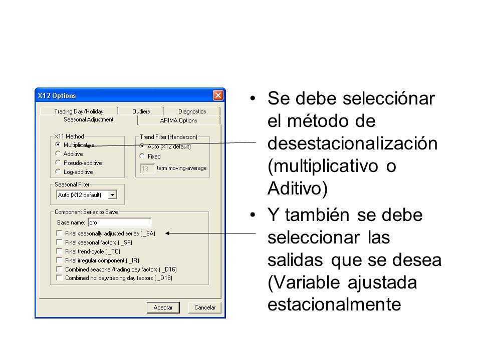 Se debe selecciónar el método de desestacionalización (multiplicativo o Aditivo) Y también se debe seleccionar las salidas que se desea (Variable ajus