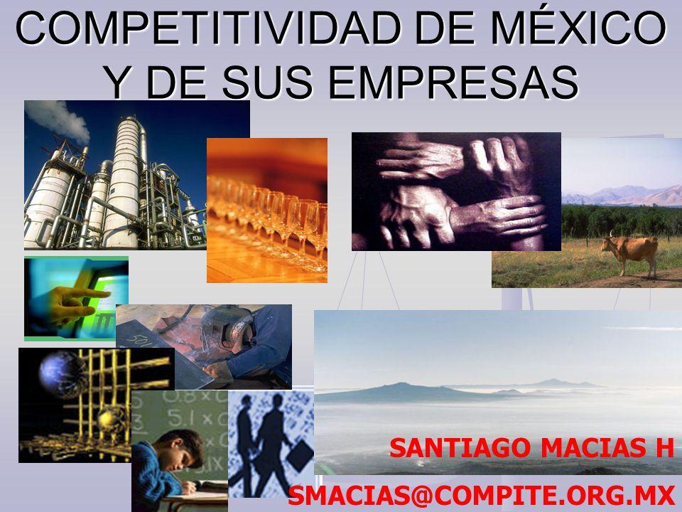 COMPETITIVIDAD DE MÉXICO Y DE SUS EMPRESAS SANTIAGO MACIAS H SMACIAS@COMPITE.ORG.MX