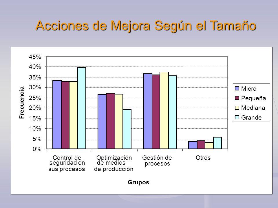 Acciones de Mejora Según el Tamaño 0% 5% 10% 15% 20% 25% 30% 35% 40% 45% Control de seguridad en sus procesos Optimización de medios de producción Gestión de procesos Otros Grupos Frecuencia Micro Pequeña Mediana Grande