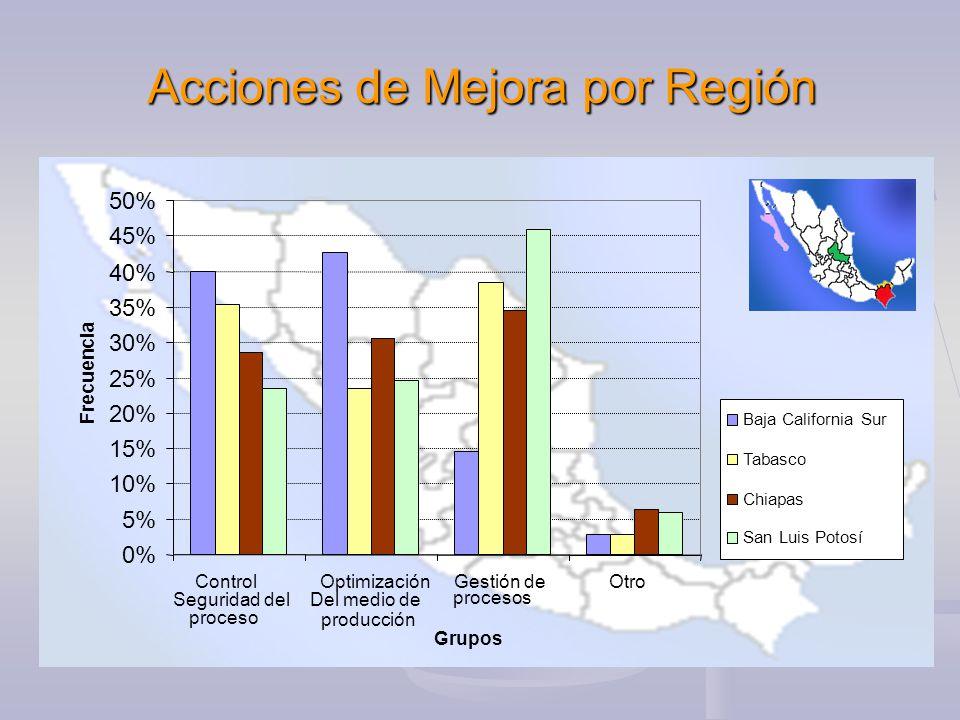 Acciones de Mejora por Región 0% 5% 10% 15% 20% 25% 30% 35% 40% 45% 50% Control Seguridad del proceso Optimización Del medio de producción Gestión de procesos Otro Grupos Frecuencia Baja California Sur Tabasco Chiapas San Luis Potosí