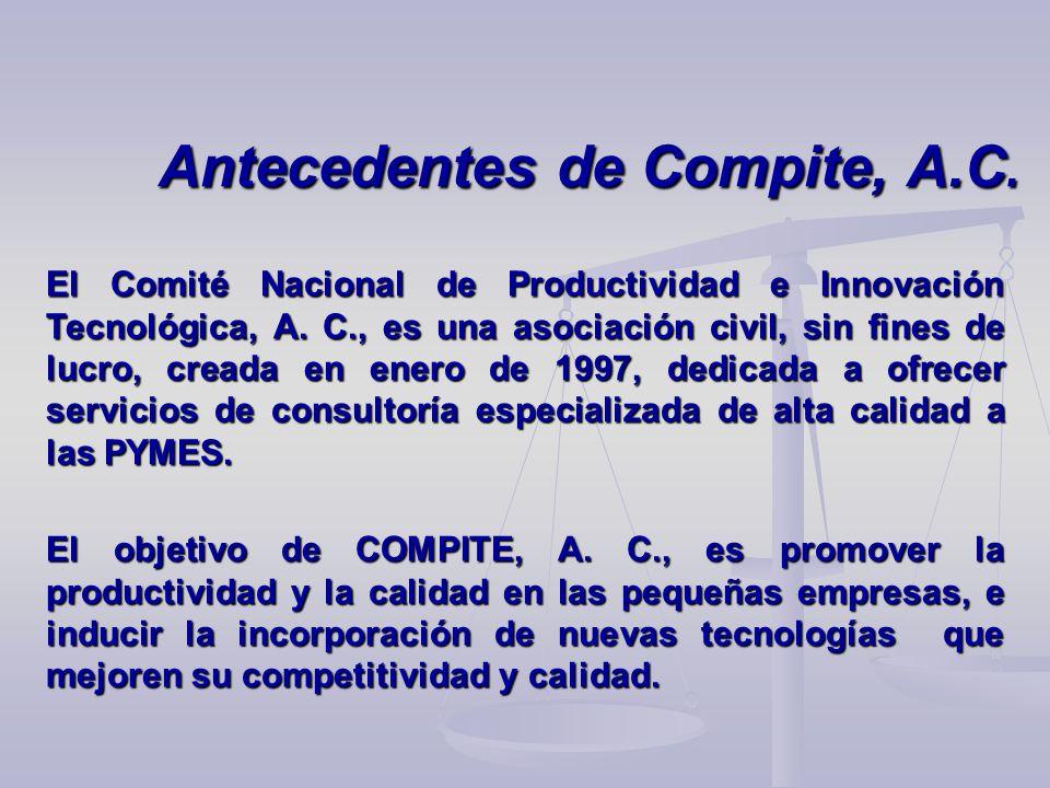 Antecedentes de Compite, A.C. El Comité Nacional de Productividad e Innovación Tecnológica, A. C., es una asociación civil, sin fines de lucro, creada